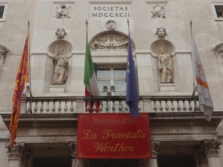 Neo-Classical façade with statues of Muses of Tragedy and Dance of the La Fenice Theatre