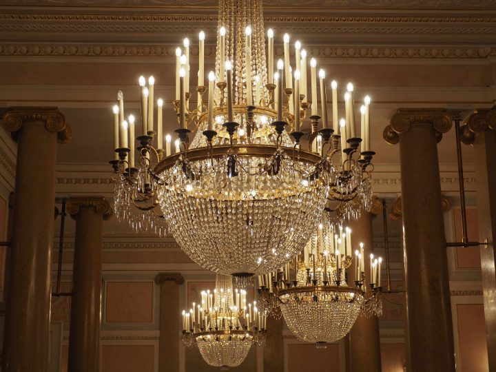 chandeliers in the foyer