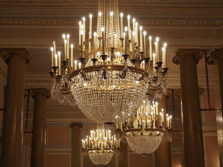 chandeliers in the foyer