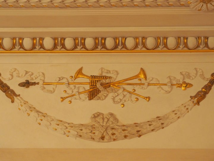 stucco decorations in the foyer