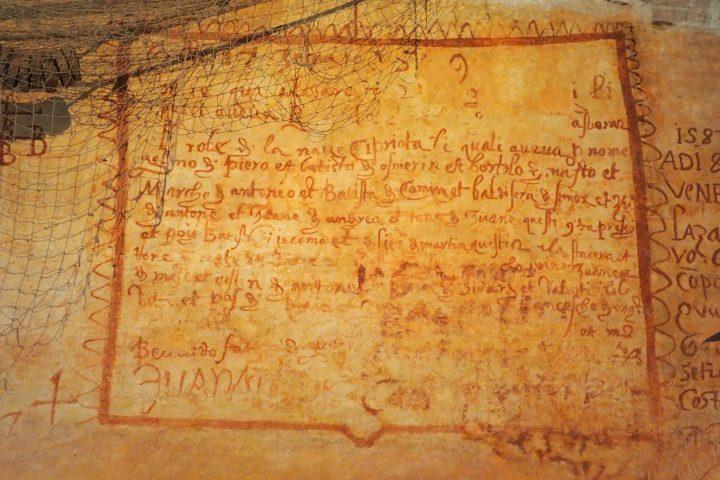 4,1 x 2,2 Meter große Inschrift, wo 1569 und ein Schiff aus Zypern 'nave cipriota' erwähnt werden