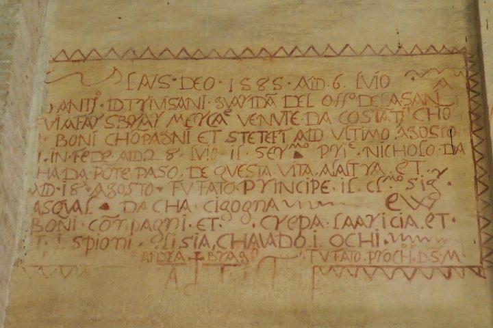 2,5 x 1,45 Meter große Inschrift mit Umrandung 'denti da lupo' Löwenzähne aus 1585 mit Erwähnung vom Dogen Cicogna auf einem Entwurf mit sicherer Schrift geschrieben