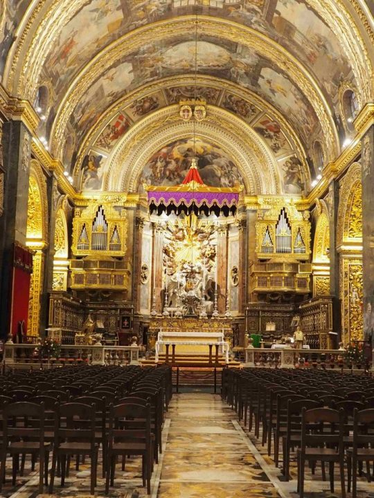 the main nave of the magnificent St. John's Co Cathedral in La Valletta