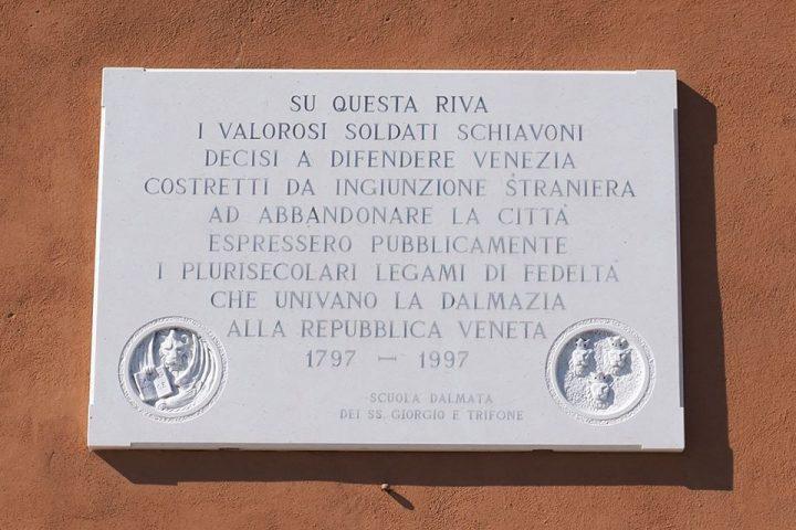 targa che ricorda i valorosi soldati schiavoni