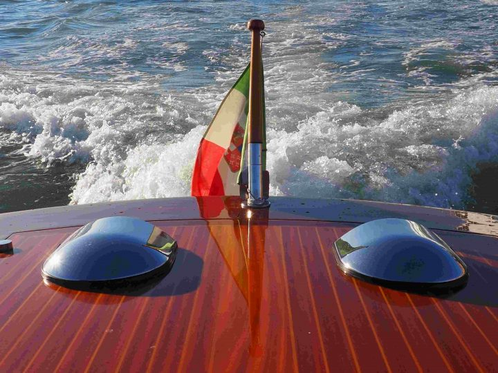 private water-taxi with Italian navy flag